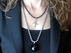 Modern Long Black Crystal Necklace  HUGE by ClassicModernNatural, $23.00