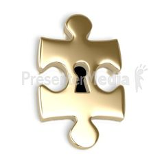 Gold Puzzle Piece Key Hole PowerPoint Clip Art