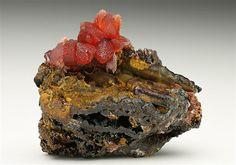 Rhodochrosite on Goethite from Germany