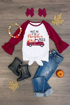 """Burgundy """"Meet Me at the Pumpkin Patch"""" Tie Top - Sparkle In Pink Teen Girl Fashion, Little Girl Fashion, Toddler Girl Outfits, Kids Outfits, Kids Fashion, Cute Outfits, Fashion Ideas, Women's Fashion, Cute Toddler Girl Clothes"""