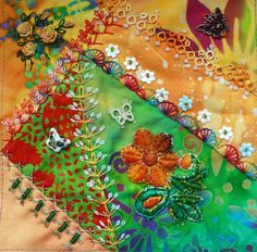 I ❤ embroidery & crazy quilting . . .  CQI Summer Dreams DYB my own work, ~By peltolaritva