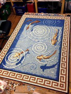 Lift floor mosaic for private residence by mosaic artist Gary Drostle.