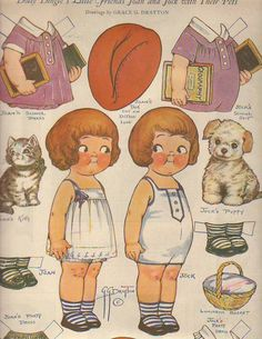 1924 Dolly Dingle Paperdoll - Joan, Jock and their pets | eBay * 1500 paper dolls at International Paper Doll Society by artist Arielle Gabriel ArtrA QuanYin5 Linked In QuanYin5 Twitter *