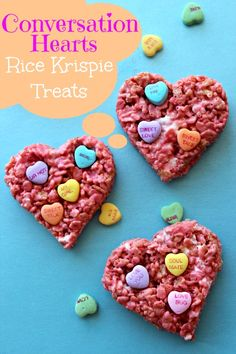 Here is a fun treat for Valentine's Day. Check out this Conversation Hearts Rice Krispie Treats Recipe!