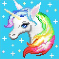 Rainbow Unicorn Perler Bead Pixel Art Piece w/ Pattern Graph Crochet, Pixel Crochet, Afghan Crochet Patterns, Unicorn Cross Stitch Pattern, Unicorn Pattern, Cross Stitching, Cross Stitch Embroidery, Crochet Unicorn Blanket, Pixel Pattern