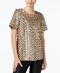 Bar III Sequined Top, Only at Macy's
