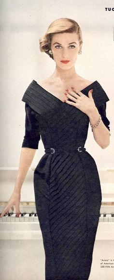 Ciao Bellissima - Vintage Glam; Model wearing cocktail dress by Herbert Sondheim, Vogue 1953