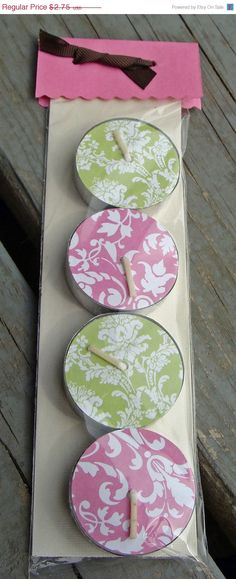 Christmas in July Sale Decorated Tea Light by CaffeinatedPapercuts, $1.92