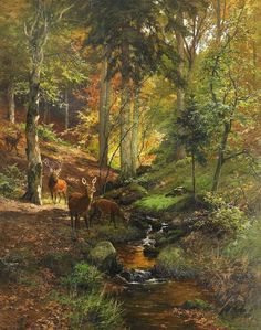 Deer in Forest Artist: Heinrich Bohmer