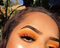 Yellow, orange eyeshadow w/ orange liner