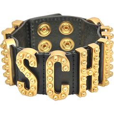 8f9bb4020d6 Moschino Lettering studded bracelet (335 AUD) ❤ liked on Polyvore featuring  jewelry