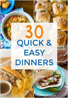 30 quick dinner ideas for super busy on the go families. These easy family dinner recipes are perfect for making in a pinch. Easy Family Dinners, Easy Weeknight Dinners, Family Meals, Easy Meals, Family Kids, Healthy Chicken Recipes, Easy Healthy Recipes, Quick Recipes, Crockpot Recipes