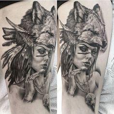My biggest and best piece. Wolf headdress tattoo