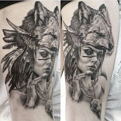 My biggest and best piece. Wolf headdress tattoo