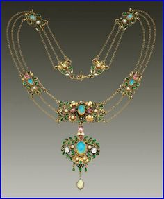 Georgie and Arthur Gaskin. Arts and Crafts necklace. Gold, opal, diamond, emerald paste and pearl. Pendant: H: 8 cm (3.15 in)  W: 4 cm (1.57 in). Necklace: L: 41 cm (16.14 in). British, c. 1913. Fitted case. Sold by Tadema Gallery.