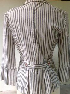 CAbi Blazer Sz 8 Denim Ticking 3/4 Sleeve Cotton Spandex Figure Flattering 793 #CAbi #Blazer