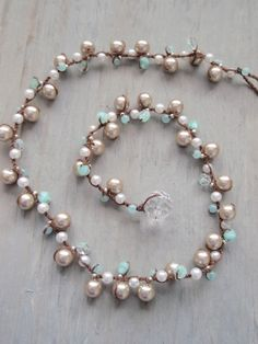 Robins Egg glass pearl hand knotted necklace by slashKnots on Etsy