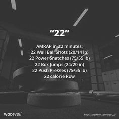 AMRAP in 22 minutes: 22 Wall Ball Shots lb); 22 Box Jumps in); Kettlebell Training, Kettlebell Benefits, Kettlebell Challenge, Kettlebell Cardio, Crossfit Wods, Tabata, Fit Board Workouts, At Home Workouts, Workout Board