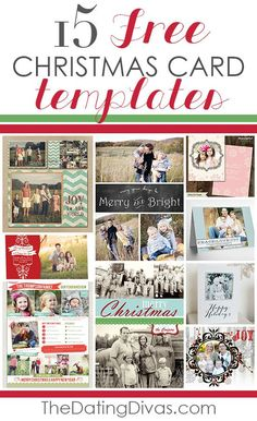 A whole collection of freebies to make your OWN Christmas cards.  Just customize by adding your family pic and name- easy, peasy!