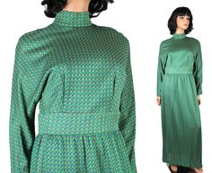 Vintage Maxi Dress Sz M Green Blue Metallic Gold Long Sparkly 70s Disco Costume Free US Shipping by HepCatClothes on Etsy