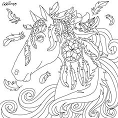 #horse #feathers to color with Color Therapy: http://www.apple.co/1Mgt7E5 #colortherapyapp #coloringforadults