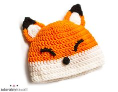 Fox hat-No Pattern- would be easy to make with a simple beanie pattern and add the eyes, ears, and nose.
