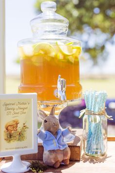Drink Table from a Peter Rabbit Themed 1st Birthday Party via Kara's Party Ideas | KarasPartyIdeas.com (21)
