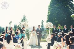 An outdoor wedding ceremony venue with great views. The Vancouver Golf Club in Coquitlam, BC. Photo by Nouvelle Photography, as seen on BRIDE.Canada