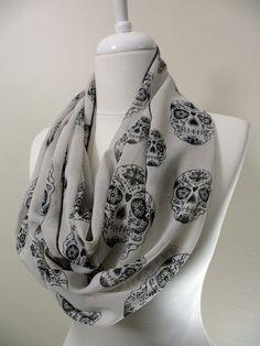 Skull Head Chiffon Infinity scarf, Circle scarf, Loop scarf, Heart Scarves, Tube Scarf, Shawls, spring - fall - winter - summer fashion. $16.00, via Etsy.