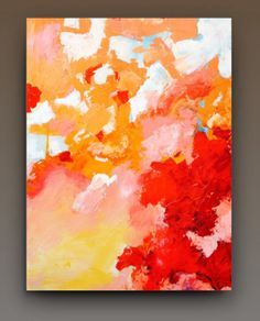 30X40 abstract art colors coral red pink by FreehouseCollective