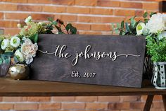 Wedding Last Name Sign Established Family Sign Last Name Wall