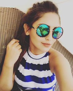 Throwing back to a chill Sunday Scene 💙 Krystal Dsouza, Round Sunglasses, Mirrored Sunglasses, All Actress, Cute Poses, Bollywood Actress, Actors & Actresses, Cute Girls, Celebs