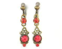 Red Dangle Clip on Earrings - Antique Brass Rhinestone Screw Back Jewelry Earrings