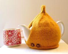 Tea Cosy in Mustard Aran Wool Teal Green, Purple, Happy Tea, Tea Cozy, Knit Patterns, Cosy, Hand Knitting, Mustard, Knitted Hats