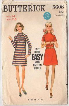 Vintage Butterick 5608 Sewing Pattern 1960s Misses' One Piece Dress Raglan Sleeves