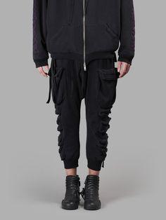 BEN TAVERNITI UNRAVEL PROJECT Ben Taverniti Men'S Black Brush Parachutes Pants. #bentavernitiunravelproject #cloth #trousers