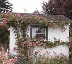 garden landscaping climbing roses ☽☨≜lism≜n☾ Paz Hippie, Future House, My House, Cottage In The Woods, Chula, Climbing Roses, Cottage Homes, Interior And Exterior, Countryside