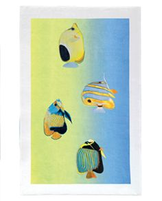 Make the theme apparent with the aquatic life print Diving towel by Yves Delorme. 20% off until May 10, 2014.