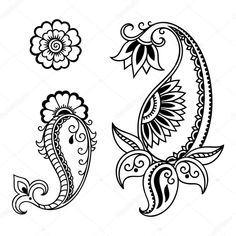 Set of Mehndi flower pattern for Henna drawing and tattoo. Decoration in ethnic oriental, Indian style. Paisley Doodle, Paisley Art, Henna Drawings, Art Drawings, Doodle Patterns, Flower Patterns, Dark Brown Walls, Mehndi Flower, Beautiful Flower Drawings