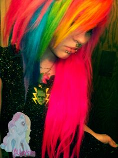Totally thinking about getting some rainbow hair for my next dye job. Always wanted to do it and I now have the perfect opportunity and just maybe some bleach to achive this.