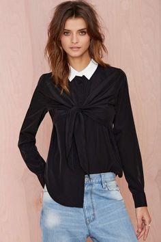 Nasty Gal Back in Black Tie-Front Shirt | Shop Tops at Nasty Gal