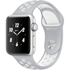 Apple Watch Nike+ 38mm Silver-Tone Aluminum Case with Flat... (€355) ❤ liked on Polyvore featuring jewelry, watches, silver, silvertone watches, white watches, sports jewelry, silver tone jewelry and sport jewelry
