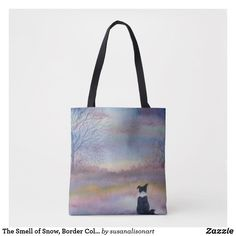 Shop The Smell of Snow, Border Collie dog in a winter l Tote Bag created by susanalisonart. Collie Dog, Border Collie, Winter Landscape, Reusable Tote Bags, Snow, Pets, Winter Scenery, Eyes, Let It Snow