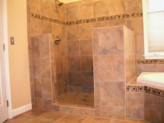 Master bath on pinterest tubs porcelain floor and tile for Showers without glass