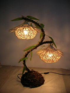 Modern brief rustic double slider strawhat table lamp 634x845 20 Creative DIY Lamp Ideas