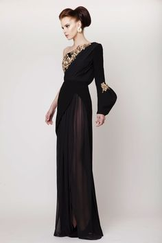 Azzi & Osta Couture SS 2015, Black Long Silk Crepe and Chiffon Dress with Antique Gold Embellishment
