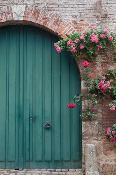Teal wooden door - love this color!