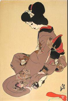 Kitano Tsunetomi(1880〜1947) 「廓の春秋 春(新町)稽古の間」 http://ezoshi.com/kitanotsunetomi/spring.html
