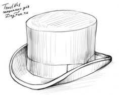 how to draw a top hat step by step 4 Steampunk Drawing, Steampunk Hat, Top Hat Drawing, Hatch Drawing, Drawing Sketches, Art Drawings, Sketching, Hats Short Hair, Architecture Concept Drawings