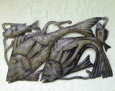 Fish Metal Wall Art Sculpture 14  x 24  from recycled barrels HANDMADE